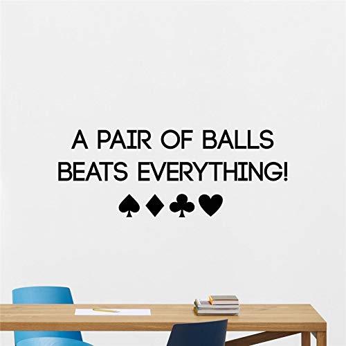 haochenli188 Wandaufkleber Poker Wandtattoo Spielkarten Chips Casino Motivations Schriftzug Poster Aufkleber Schlafzimmer Kunst Dekor Wandbild 100x38cm