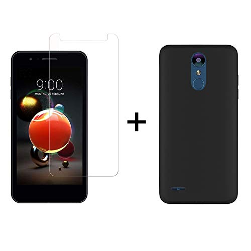 TBOC Pack: Schwarz Gel TPU Hülle + Hartglas Schutzfolie für LG K8 (2018) - LG K9 (5.0 Zoll) - Ultradünn Flexibel Silikonhülle. Panzerglas Bildschirmschutz in Kristallklar in Premium Qualität.