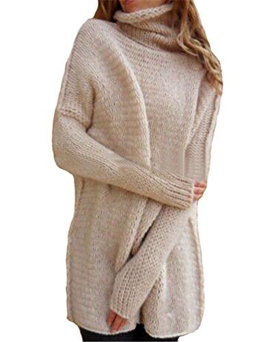 Donna Casuale Baggy Maglione Sciolto Alto Collo Solid Color Chunky Maglia Manica Lunga Denso Inverno Pullover Sweatshirt pink bianco