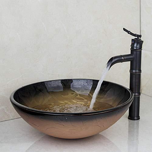 LLLYZZ Antike Messing Hot & Cold Wasser Combo Set Runde Wasserhähne Vessel Ablauf Waschbecken Wasserhahn Zähler Top Mixer Eitelkeit Stream Auslauf