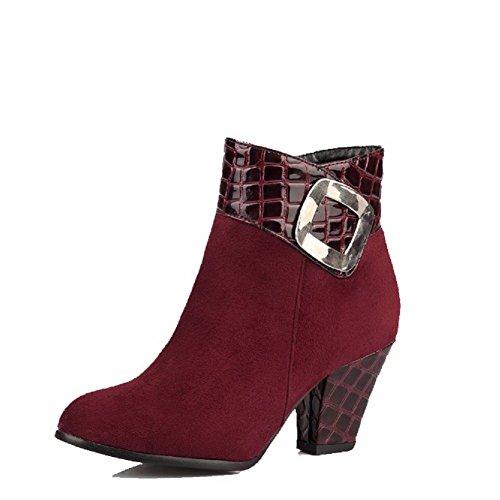 VogueZone009 Damen Hoher Absatz Blend-Materialien Niedrig-Spitze Reißverschluss Stiefel, Cremefarben, 34