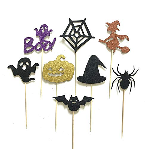 sunnymi Halloween Cupcake Kuchen Topper Kucheneinsatz für Party Backen Foto (A, 1 Set)