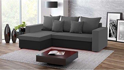 Justhome fresh iii divano angolare divano letto microfibra (lxlxa): 142x237x75 cm grigio nero penisola a sinistra