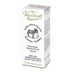 Anti-Ageing Serum mit Eselsmilch, Arganöl, Aloe und Oliven für jugendliches und strahlend-frisches Aussehen, geeignet für Gesicht und Hals.