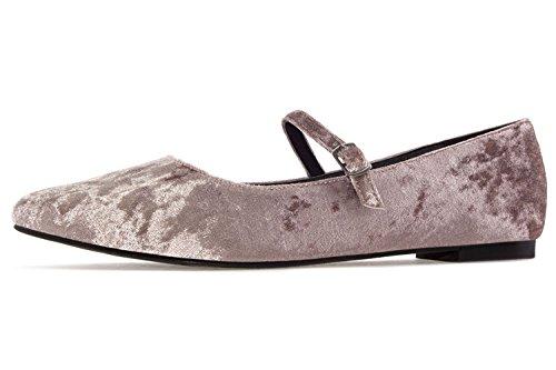 Bild von Andres Machado - Damen SAMT Ballerina im Mary Jane Stil- Beige Schuhe in Übergrößen