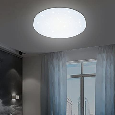 VINGO® 12W LED Deckenleuchte Deckenlampe Weiß Wohnzimmerlampe Schlafzimmer Badleuchte Deckenbeleuchtung Wohnzimmer Sternen Himmel Beleuchtung rund Wand-Deckenleuchte Moderne Lampe angenehmes Licht Leuchte Energieklasse A++