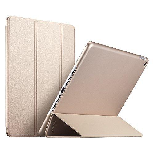 ESR iPad 9.7 Zoll 2018/2017 Hülle, [Rubberized/Gummiert] PU Ledertasche Auto Aufwachen/Schlaf Funktion Schutzhülle mit Gummi-Spray für iPad 9.7 2018/2017 (Gold)