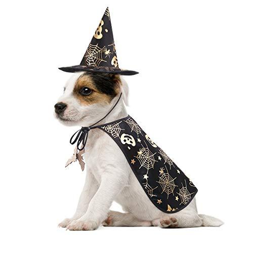 POPETPOP - Costume in maschera Halloween per animale domestico con cappello magico per cani e gatti