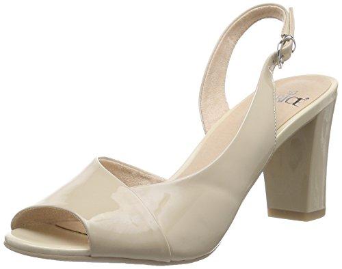 Caprice 28311, Damen Slingback Sandalen, Beige (SAND PATENT 302), 38.5 EU (Damen Patent Beige Sandalen)