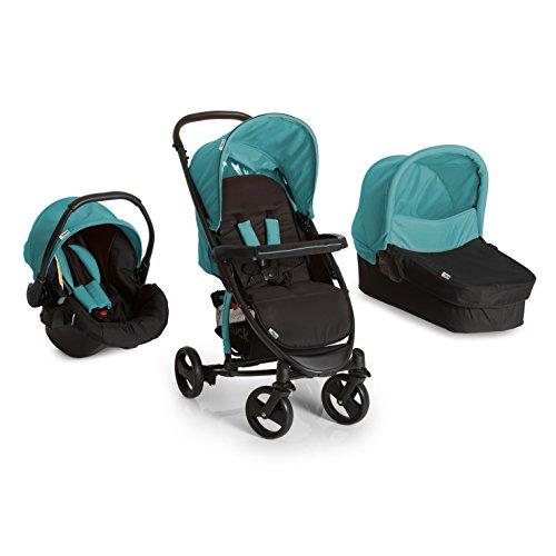 Hauck Miami 4S Trio Set - Coche de bebes 3 piezas de capazo, sillita y Grupo 0+ para recién nacidos hasta bebes/niños de 15 kg, cesta grande para la compra, plegable, color negro y turquesa