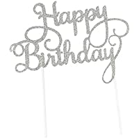 Chen Rui (TM) Plateado / Dorado Flash Feliz Cumpleaños Decoración Cake Topper (Plateado)