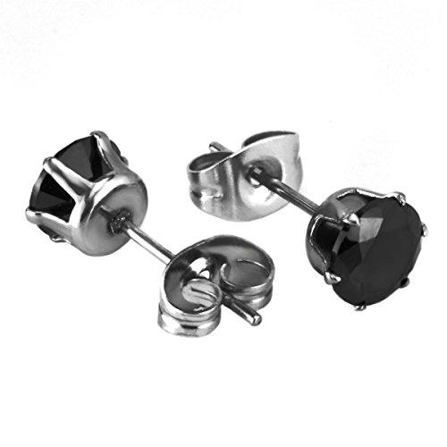 Elegante nero orecchini 6mm | Moderno Orecchini in acciaio inox per uomo | Reale orecchini fatti a mano per gli uomini, acciaio inossidabile, cod. byd_blck_royalking_earrings