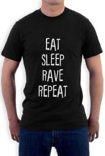 EAT SLEEP RAVE REPEAT T-Shirt Schwarz