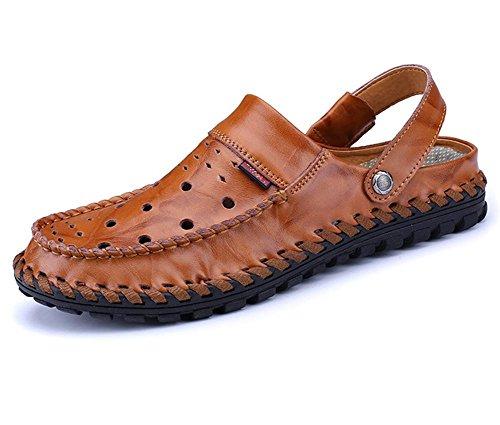 sandali degli uomini di modo di nuova personalità di estate sulle spiagge di cuoio dei pattini inferiori molli Baotou sandali degli uomini in pelle traspirante a mano marrone