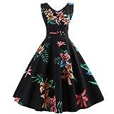 sunnymi Damen Blumen Kleid, Ärmellos Rockabilly Abendgesellschaft Swing Kleid