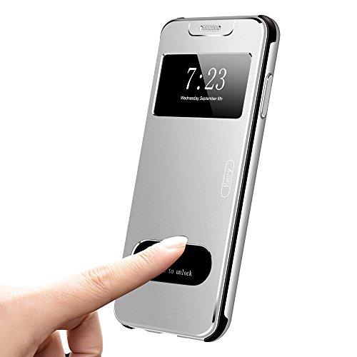 OATSBASF iPhone X Hülle,Handyhülle iPhone X Metall Flip,Shockproof Transparent Front View Ultra Slim Case für iPhone X(Silber) Transparente Front Leder