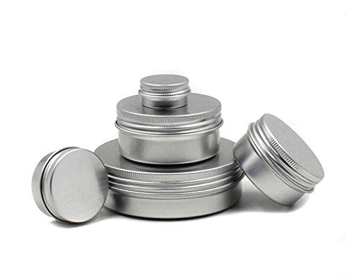 Erioctry Lot de 12 boîtes rondes en aluminium avec couvercle à visser pour cosmétique 5 ml/20 ml/40 ml/80 ml/100 ml