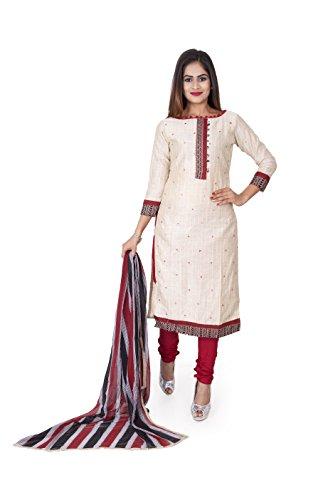 Sainath textiles Maitri Beige & Red Color Salwar Suits for Women Unstitched...