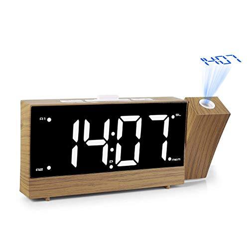 XJYA Réveil de Projection, Double Alarme, Sieste/Sommeil, Gradateur LED 1.8\