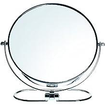 HIMRY® Espejo de Baño 8'' Aumento 10x Cosmética Espejo plegable para Afeitar y Maquillar, espejo de mesa con Doble Cara, Cosmética Espejo, con Doble Cara? 1x y 10x Ampliación, Rotación 360 Grados, 8 pulgadas, 20cm, Plateado, KXD3125-10x