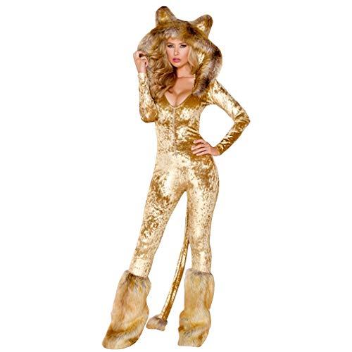 Sexy Anzug Katze Kostüm - DEMU Katzen Kostüm-Anzug Kätzchen Catsuit Overall Tierkostüm Pyjama Cosplay Nachtwäsche Gold L