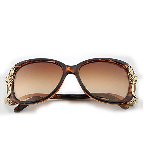 Yiph-Sunglass Sonnenbrillen Mode Trend Box Metall Sonnenbrille Damen Sonnenbrille Fashion Sonnenbrille (Farbe : Tortoise)