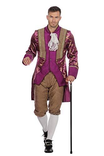 Lila Kostüm Frack - Marquise Kostüm Herren Lila Braun, Frack mit Jabot, Kniebund-Hose Viktorianisches Herrenkostüm Karneval Fasching Hochwertige Verkleidung Größe 48 Lila/Braun