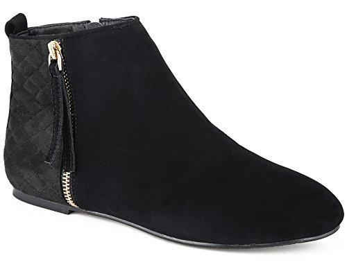 MaxMuxun Damen Kurzschaft Stiefel Reißverschluss Flach Schwarz Größe 39EU (Wildleder Flache Schuhe)