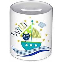 Spardose, Segelboot, Kinder, mit Namen, Geschenk Taufe, Geldgeschenke, Sparschwein