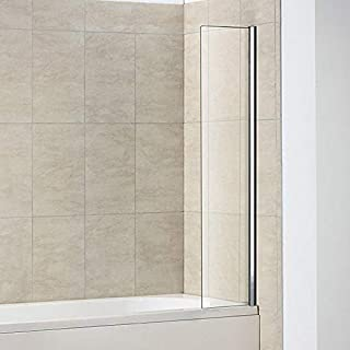 350x1400mm Fixed Bath Shower Screen Over Bath Square Screen
