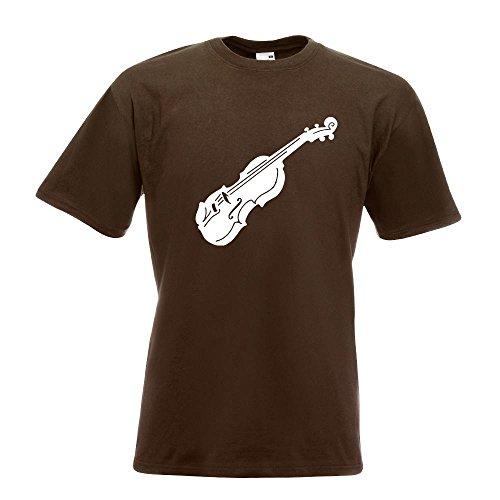 Kiwistar Geige - Violine - Musik T-Shirt in 15 Verschiedenen Farben - Herren Funshirt Bedruckt Design Sprüche Spruch Motive Oberteil Baumwolle Print Größe S M L XL XXL Chocolate