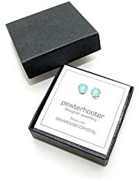 pewterhooter 925 Sterling Silver stud earrings handmade with Pacific Opal crystal from SWAROVSKI®.