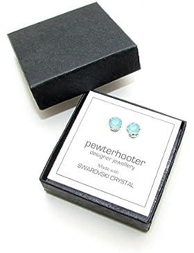 925-Sterling Ohrstecker handgefertigt mit Pacific Opal Kristall aus SWAROVSKI®.