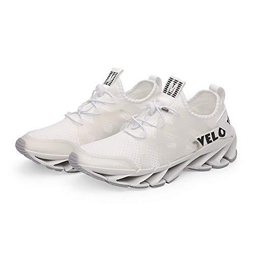 Herren Laufschuhe Fitness straßenlaufschuhe Sneaker Sportschuhe atmungsaktiv Rutschfeste Mode Freizeitschuhe (Weiß,43)