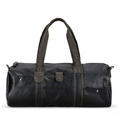 Oversized Travel Tote (Stylish PU Leather Travel Bag Tote Duffel handbag Weekend Overnight Bag (Black Oversized))