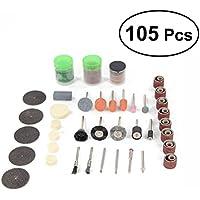 BESTOMZ 105pcs conjunto de cepillo de rueda de alambre accesorios de pulido abrasivos para herramientas rotativas Dremel