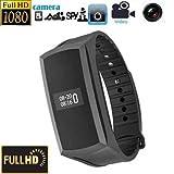 Hidden Spy cámara reloj Smart Bracelet Grabación de vídeo HD 1080P Mini DV DVR con los pasos de seguimiento - Negro Adjustable Wristband No Agujero Lente @ Laing-H