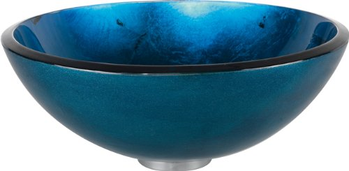Kraus Gv-204-orb Irruption Blue Glass Vessel Bathroom Sink With Pu-mr Oil Rubbed Bronze By Kraus