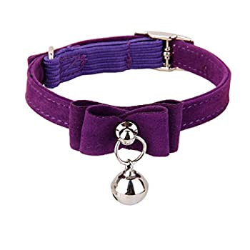 Collier Réglable avec Pendentif Cloche pour Chaton Chat Chiot (Violet)