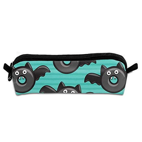 n Donuts On Teal Student Polyester Double Zipper Pen Box Boys Girls Pencil Case Cosmetic Makeup Bag Pouch Stationery Office School Supplies 21 X 5.5 X 5 cm ()