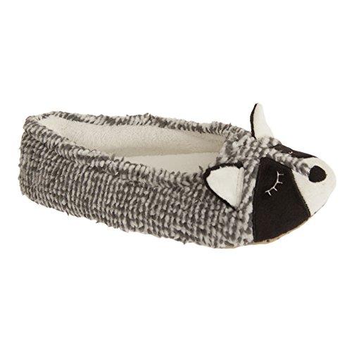 SlumberzzZ Pantofole a Forma di Procione - Donna Grigio
