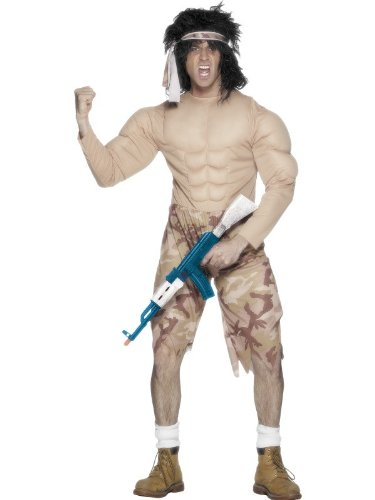 Muskelkostüm Kampfkostüm Kämpfer Bodybuilder Kostüm Gr. 48/50 (M), 52/54 (L), Größe:M