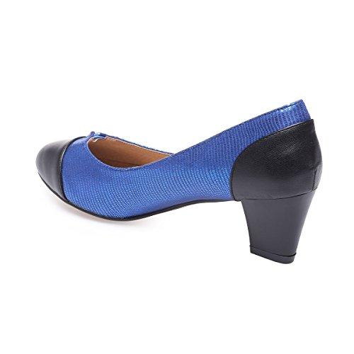 La Modeuse - Escarpin aspect cuir irisé grande taille Bleu