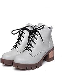ZQ@QX El otoño y el invierno de cabeza redonda Taiwán impermeable grueso con zapatos de tacón de moda, el Presidente...