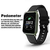 GCCLCF Bluetooth aufgerufen Farbe Bildschirm Smart Armband Herz Rate Blutdruck-Überwachung Schritt Sport-Armband,Black