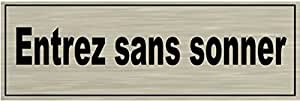 Signalisation Alu brossé Plaque de porte Entrez-sans-sonner