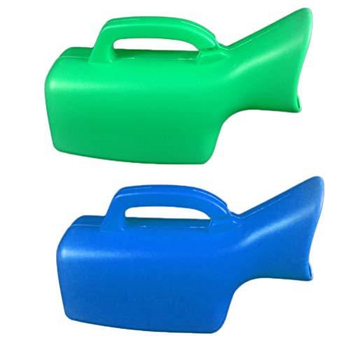 SUPVOX Urinflasche für Männer Weibliche Ältere Menschen mit Tragegriff Auto Camping Notfall Toilette 2 Stück 1000ml (Grün und Blau)