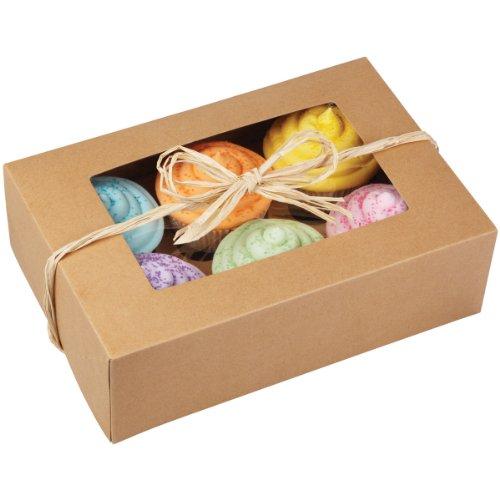 Wilton 24,41.5x 16.5x7.6cm (9,6x 6,5x 3Zoll) 6Loch Kraft Cupcake-Box, Pack von zwei–Braun