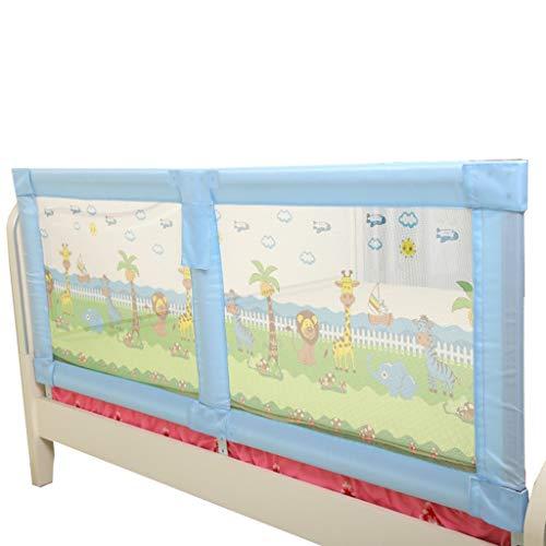 Bettgitter Bettschutzgitter Holz extra Lange Lange Kinderbett Schiene für Queen-Size-Bett Twin XL rosa Verstellbare Leitschiene für Mädchen Kinder (Farbe : Blau, größe : Length 180cm) (Rosa Twin-bett Für Mädchen)
