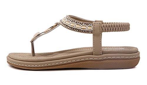 Minetom Damen Sommer Strandschuhe Böhmische Stil Schuhe Strass Flip Flops Peep Toe Flache Sandalen Zehentrenner Parteischuhe Aprikose